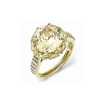 Gold-plated Sterling Silver Fancy Canary & White CZ Ring