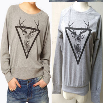 Grey Deer Print Sweater