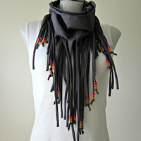 Infinity Fringe Scarf with beads, tshirt fringe scarfs, boho scarf, fabric scarf necklace, dark gray and neon beads