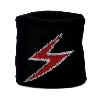 Lightning Bolt Wristband Black Metal Heavy Sweatband