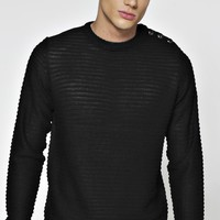 Ribbed Jumper With Button Shoulder