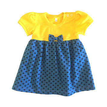 Bodysuit dress blue dots yellow, baby girl summer dress, organic cotton dress, baby girl gift, first dress, handmade dress, newborn dress