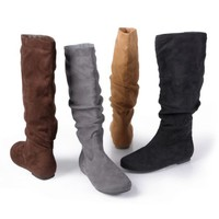 Brinley Co. Womens Knee-High Slouch Microsuede Boot