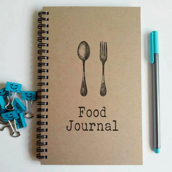 Writing journal, spiral notebook, sketchbook blank notebook, lined journal, custom personalized - Food Journal, meal planner, spoon and fork