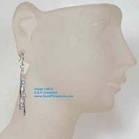 Swarovski Light Blue Crystal Pearl Twisted Bugle Bead Rod Earrings, Stainless Wires