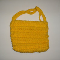 handmade crocheted Yellow fun day purse by CanadianCraftCritter
