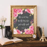 Easter Printable Print art He has risen Matthew 28:6 Christian wall art Quote Watercolor flowers Gold Easter gift 8x10 Digital file SALE