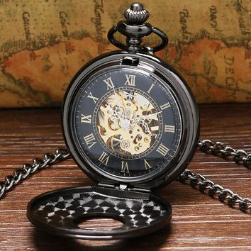 Vintage Luxury Black Metal Mechanical Pocket Watch Steampunk Watches Pin Chain Men Women Pendant Clock Gift reloj de bolsillo