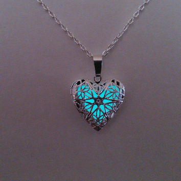Aqua Glowing Necklace, Glowing Jewelry,  Glow in the Dark Heart Pendant, Glowing necklace, Gift for Her