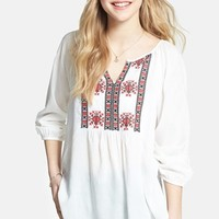 Angie Embroidered Peasant Top (Juniors) (Online Only)