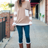 Perfect Pocket Sweater, Tan/Cream