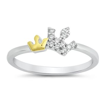 Crown Ladies Ring with Yellow Gold Size 5-10 in .925 Sterling Silver