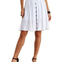 White Button-Up Full Midi Skirt by Charlotte Russe