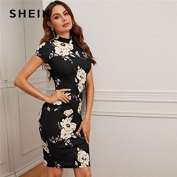 Black Mock-Neck Floral Print Bodycon Dress Women 2020 Spring Stand Collar Short Sleeve Elegant Fitted Midi Dresses