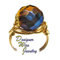 DWJ0559 Gorgeous Faceted Honey Sky Czech Art Glass Gold Wire Wrap Ring All Sizes