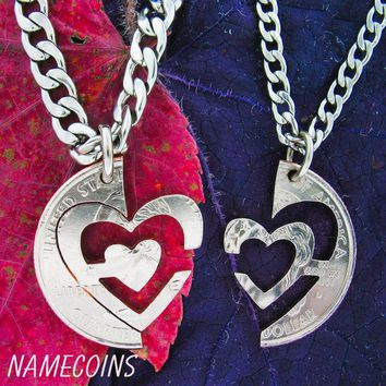 Heart Necklace, couples jewelry, Interlocking Quarter Set, hand cut coin