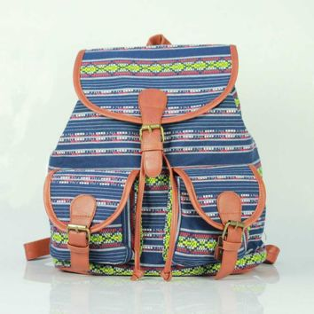 Aztec Ethnic Print Cute Large College Backpacks for School Bag Canvas Daypack Travel Bag