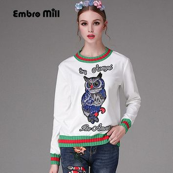 2017 Winter Warm Sweater Embroidery Owl Patchwork Women Pullovers Long Sleeve Knitted Runway Elegant White Sweaters Female