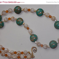 33%OFF Mosaic Turquoise Mother of Pearl Necklace