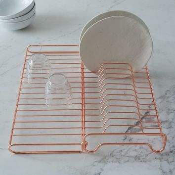 Copper Wire Kitchen Foldable Dish Rack