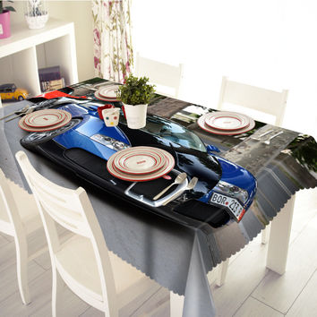 NEW 3D Tablecloths Blue Sports Car Printing Waterproof/oil-proof Washable Thicken Rectangle Dining Table Hot sale -T110