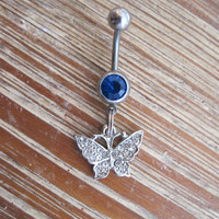 Belly Button Ring - Body Jewelry - Silver Rhinestone Butterfly with Dark Blue Gem Belly Button Ring