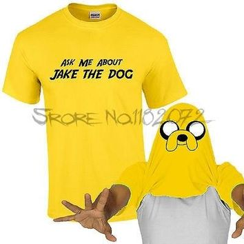 Ask Me About Jake The Dog T-Shirt Adventure Time Inspired Kids Mens Fan Flip Top