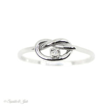 Custom Genuine Diamond Love Knot Promise Ring in Sterling Silver, 10k Gold or 14k Gold