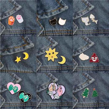 Fashion Cute 9 Style Brooch Pins Moon sun Feces Heart Christmas Tree Cat Claw Pin Badge Shirt Skirt Lapel Couple Accessories