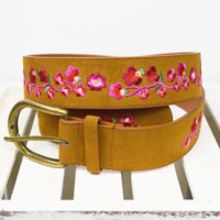 floral vibes chunky belt - brown