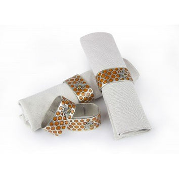 Bee Honeycomb Pewter Napkin Rings (Set/4)