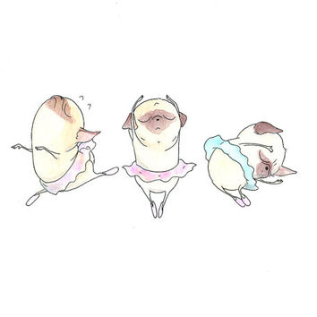 Pugs en tutu - Prima Ballerina Illustration - Ballet Art for Children - Cute Pug Ballerina Kids Art Print from INKPUG!