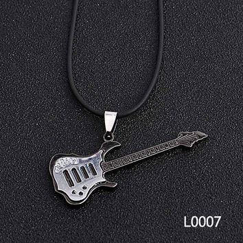 Rock Music Men Stainless Steel Necklace Many Style Ancient Guitar Alloy Accessories Pendant Cool Vintage Choker Necklace Gift