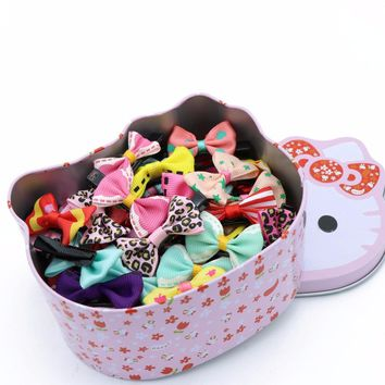 #AD17075 50pcs/lot Hot Sale Ribbon Bow Girls Hairpins Hair Clip Hello Kitty Packing Hair Barrettes