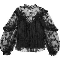 Chloé - Ruffled embroidered tulle blouse