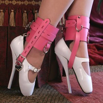 Princess Prisoner Hot Pink Wide Locking Shoe Cuffs