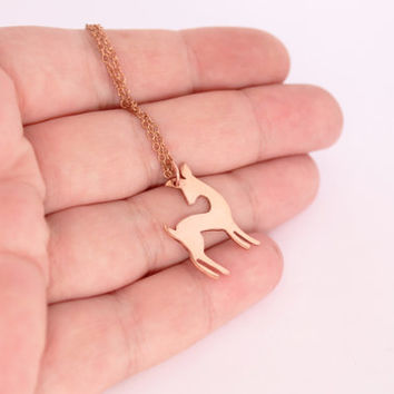 Fawn pendant  baby deer necklace handmade from copper - comes with choice of chain lengths