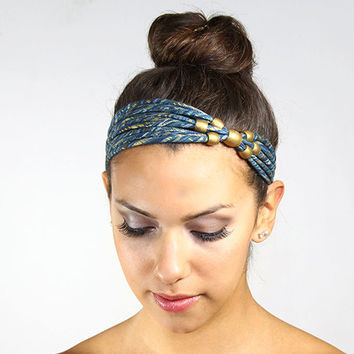 Beaded Headband, blue and gold headband, art deco headband, head band