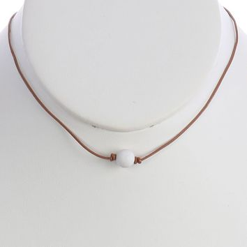 White Natural Stone Bead Adjustable Cord Necklace