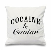 """Novelty Cocaine & Caviar Throw Pillow Cases Tumblr Hipster Swag Cushion Cover Cool Letter Gifts Room Home Decor Two Side 18""""x18"""""""
