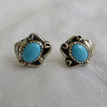 Vintage Southwest Earrings, Sterling Turquoise Navajo Style, Pierced Earrings Native American Style Festival Jewelry