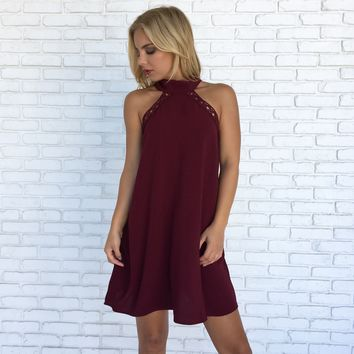 Blown Away Shift Dress in Wine