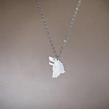 House Stark Necklace, Silver Game of Thrones Jewelry, Sterling Silver Pendant