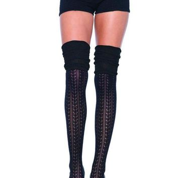 MDIGH3W Acrylic pointelle over the knee scrunch sock in BLACK