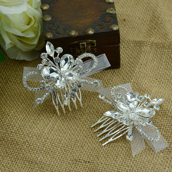 Butterfly Headwear Accessory Hair Accessories Rhinestone Crown Brush [6044649921]