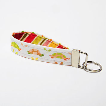 Key Wristlet, Fabric Key Fob, Handmade Keychain - Pink and Green Pastel Turtles