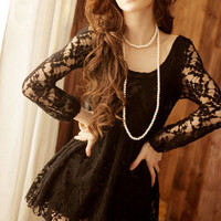 Sexy Scoop Neck Perspective Long Sleeve Black Mini Lace Dress For Women