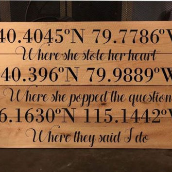 "Handmade Couples Coordinates Wooden Sign, 10""x20"" Hand Painted Pallet Sign"