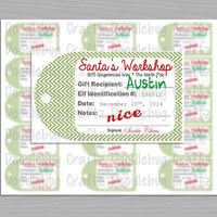 PERSONALIZED - Christmas - From Santa's Workshop - Nice List Gift Tags - 1 PDF file - 15 Tags per Sheet - 24 Hour Turn Around!
