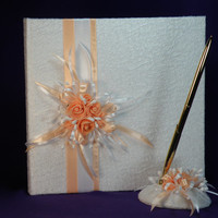 Wedding Guest Book and Pen Set, Personalized Guest Book, Wedding Guestbook , Salmon Roses, Lace, Peach Guest Book, Lace Guest Book